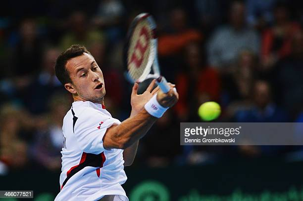 Philipp Kohlschreiber of Germany plays a forehand in his match against Roberto Bautista Agut of Spain on day 1 of the Davis Cup First Round match...