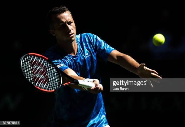 Philipp Kohlschreiber of Germany plays a volley shot during his match against Joao Sousa of Portugal on Day 3 of the Gerry Weber Open 2017 at on June...