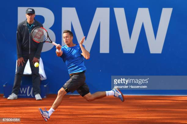 Philipp Kohlschreiber of Germany plays the ball at his first round match against Mischa Zverev of Germany Casper Ruud of Norway during the 102 BMW...