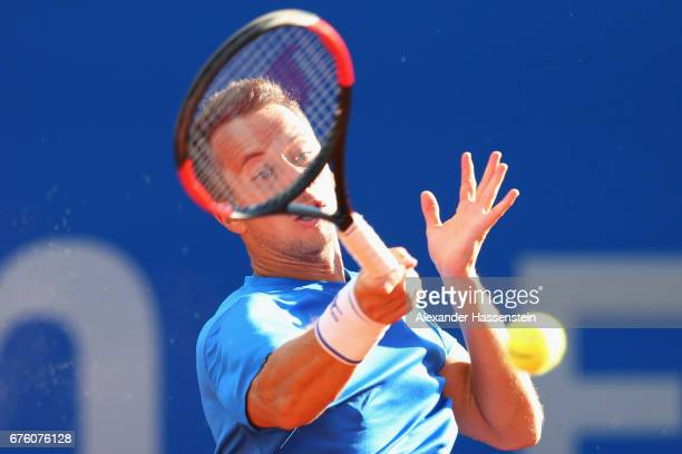 Philipp Kohlschreiber of Germany plays the ball at his first round match against Casper Ruud of Norway during the 102 BMW Open by FWU at Iphitos...
