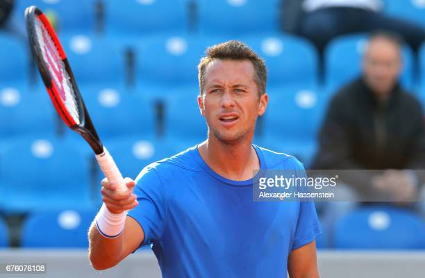 Philipp Kohlschreiber of Germany reacts at his first round match against Casper Ruud of Norway during the 102 BMW Open by FWU at Iphitos tennis club...