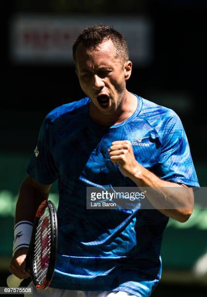 Philipp Kohlschreiber of Germany reacts during his match against Joao Sousa of Portugal on Day 3 of the Gerry Weber Open 2017 at on June 19 2017 in...