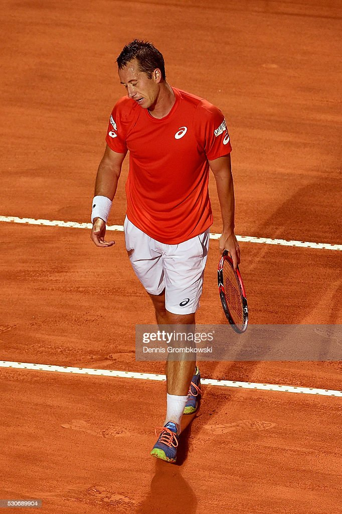 Philipp Kohlschreiber of Germany reacts during his match against Rafael Nadal of Spain on Day Four of The Internazionali BNL d'Italia on May 11, 2016 in Rome, Italy.