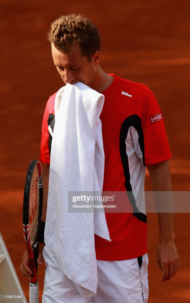 Philipp Kohlschreiber of Germany reacts during his quarterfinal match against Radek Stepanek of Czech Republic at BMW Open at the Iphitos tennis club on April 29, 2011 in Munich, Germany.