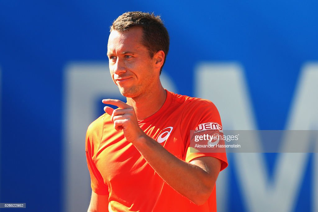 Philipp Kohlschreiber of Germany reacts during his semi finale match against Fabio Fognini of Itlay of the BMW Open at Iphitos tennis club on April 30, 2016 in Munich, Germany.