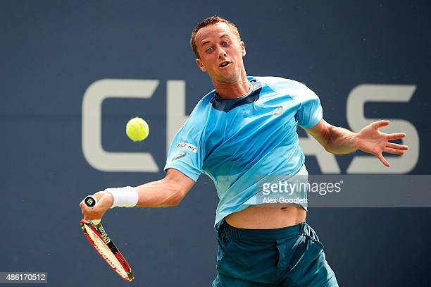 Philipp Kohlschreiber of Germany returns a shot against Alexander Zverev of Germany during their Men's Singles First Round match on Day Two of the...