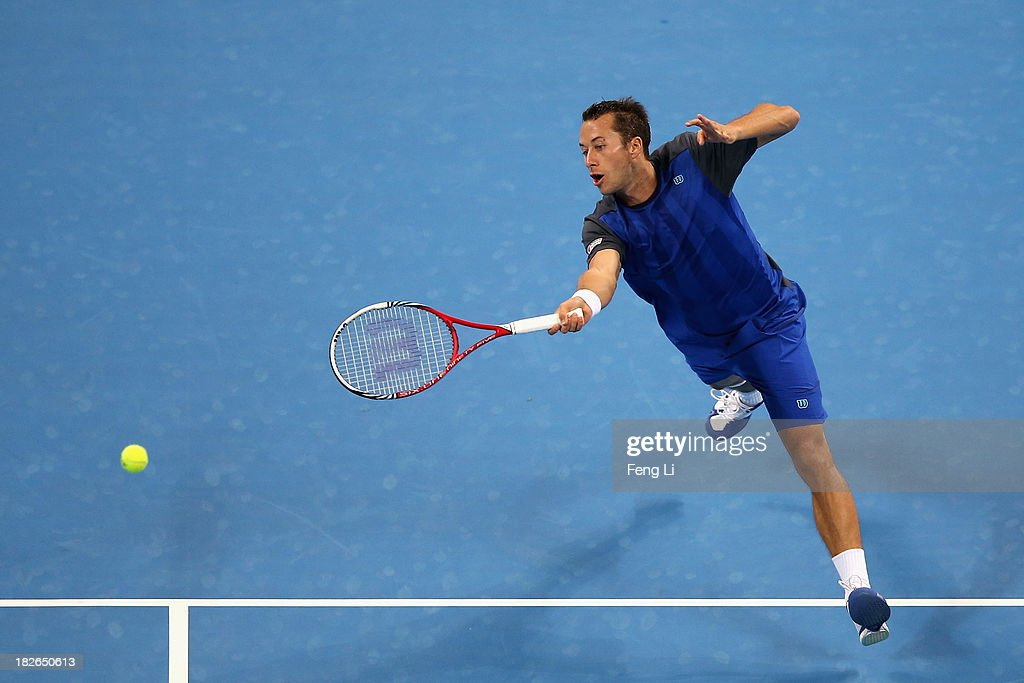 <a gi-track='captionPersonalityLinkClicked' href=/galleries/search?phrase=Philipp+Kohlschreiber&family=editorial&specificpeople=225202 ng-click='$event.stopPropagation()'>Philipp Kohlschreiber</a> of Germany returns a shot during his men's singles match against Rafael Nadal of Spain on day five of the 2013 China Open at the National Tennis Center on October 2, 2013 in Beijing, China.
