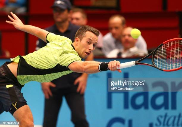 Philipp Kohlschreiber of Germany returns the ball to Diego Schwartzman of Argentina during the Erste Bank Open ATP Tennis Tournament in Vienna...