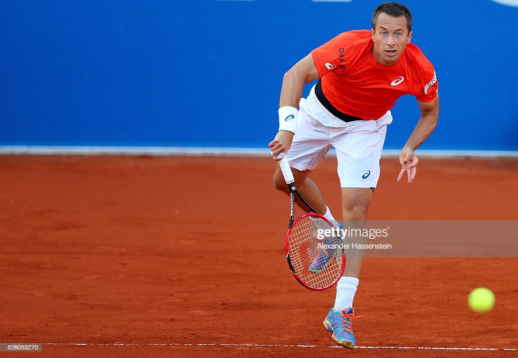 <a gi-track='captionPersonalityLinkClicked' href=/galleries/search?phrase=Philipp+Kohlschreiber&family=editorial&specificpeople=225202 ng-click='$event.stopPropagation()'>Philipp Kohlschreiber</a> of Germany serves during his quater final match against Juan Martin Del Porto of Argentina of the BMW Open at Iphitos tennis club on April 29, 2016 in Munich, Germany.