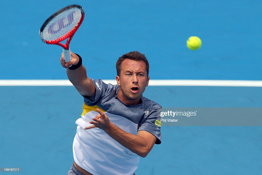 <a gi-track='captionPersonalityLinkClicked' href=/galleries/search?phrase=Philipp+Kohlschreiber&family=editorial&specificpeople=225202 ng-click='$event.stopPropagation()'>Philipp Kohlschreiber</a> of Germany volleys in his quarterfinal match against Xavier Malisse of Belgium during day four of the Heineken Open at the ASB Tennis Centre on January 10, 2013 in Auckland, New Zealand.