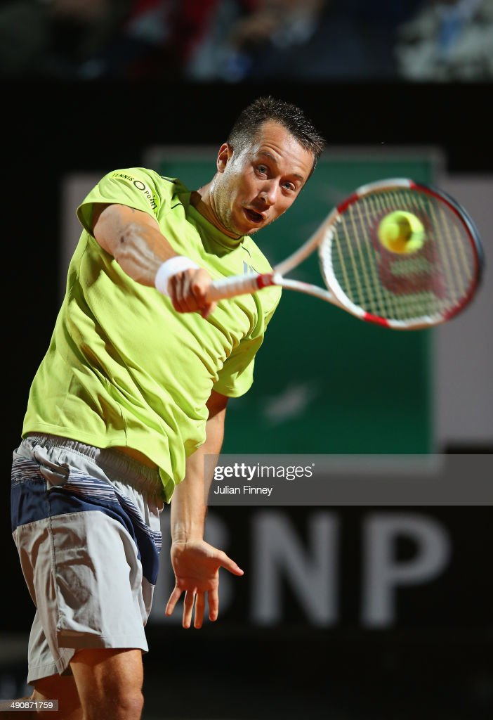 Philipp Kohlshreiber of Germany in action in his match against Novak Djokovic of Serbia during day five of the Internazionali BNL d'Italia tennis 2014 on May 15, 2014 in Rome, Italy.