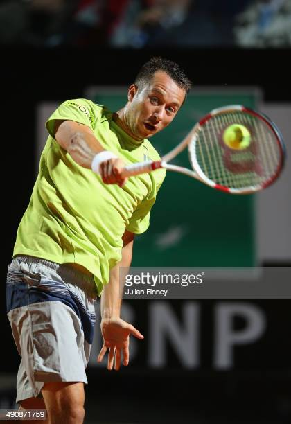 Philipp Kohlshreiber of Germany in action in his match against Novak Djokovic of Serbia during day five of the Internazionali BNL d'Italia tennis...