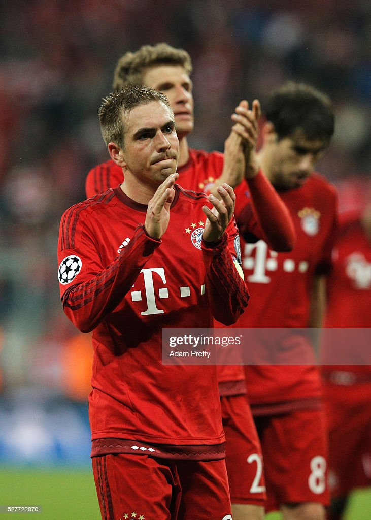 Philipp Lahm (21) a looks dejected after the UEFA Champions League semi final second leg match between FC Bayern Muenchen and Club Atletico de Madrid at Allianz Arena on May 3, 2016 in Munich, Germany. Bayern Munich won the match 2-1, but Atletico Madrid reached the final on the away goals rule.