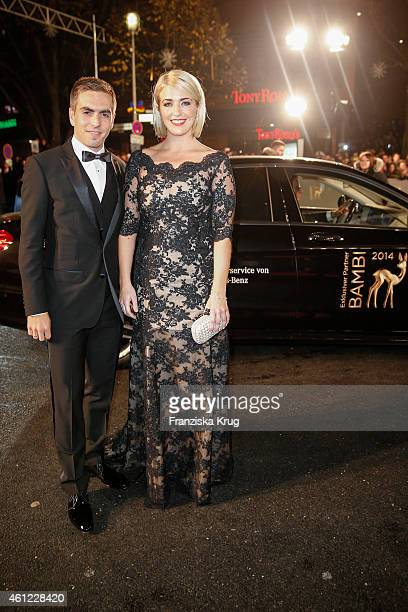 Philipp Lahm and Claudia Lahm arrive at the Bambi Awards 2014 on November 13 2014 in Berlin Germany