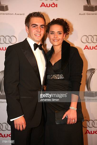 Philipp Lahm and his girlfriend Nicola attend the Audi Generation Award at Hotel Bayerischer Hof on October 13 2007 in Munich Germany