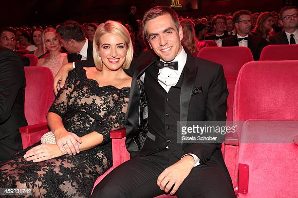 Philipp Lahm and his wife Claudia arrive at the Bambi Awards 2014 on November 13 2014 in Berlin Germany