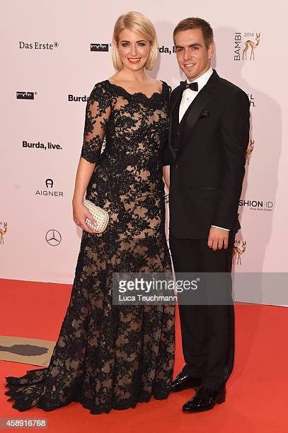Philipp Lahm and his wife Claudia attend Kryolan at the Bambi Awards 2014 on November 13 2014 in Berlin Germany
