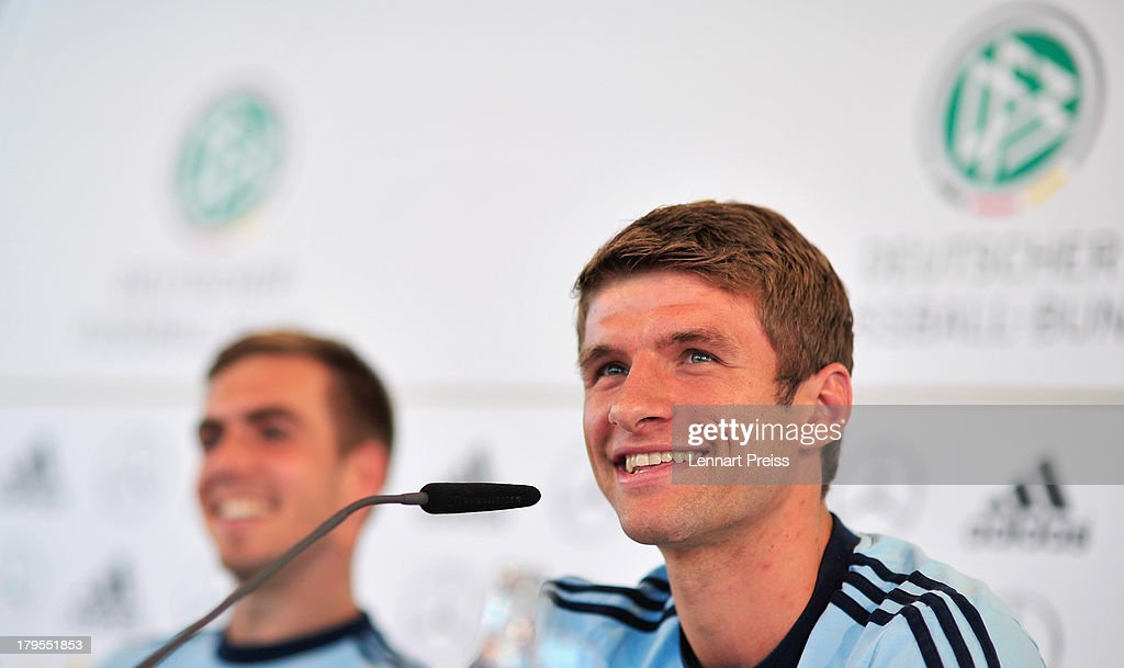 <a gi-track='captionPersonalityLinkClicked' href=/galleries/search?phrase=Philipp+Lahm&family=editorial&specificpeople=483746 ng-click='$event.stopPropagation()'>Philipp Lahm</a> (L) and Thomas Mueller of Germany attend a press conference ahead of their FIFA World Cup qualifier against Austria, at the Mercedes Benz Center on September 5, 2013 in Munich, Germany.