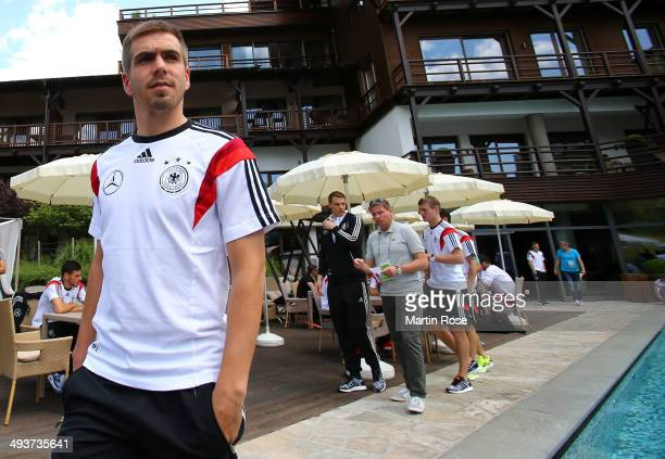 Philipp Lahm attends the DFB media day at Golf Hotel Andreus on May 25 2014 in St Martin in Passeier Italy