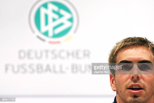 Philipp Lahm attends the German Football National Team press conference at the Guerzenich Koeln on September 3 2009 in Cologne Germany