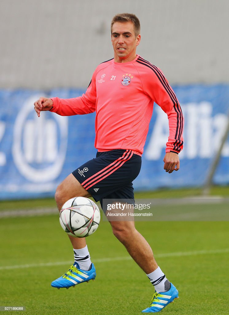 Philipp Lahm in action during a FC Bayern Muenchen training session ahead of their UEFA Champions League semi final second leg match against Club Atletico de Madrid at the Saebener Strasse training ground on May 2, 2016 in Munich, Germany.
