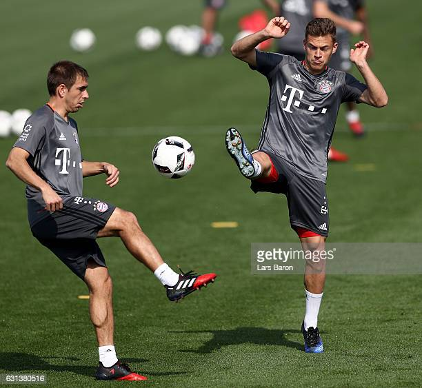 Philipp Lahm is challenged by Joshua Kimmich during a training session at day 8 of the Bayern Muenchen training camp at Aspire Academy on January 10...