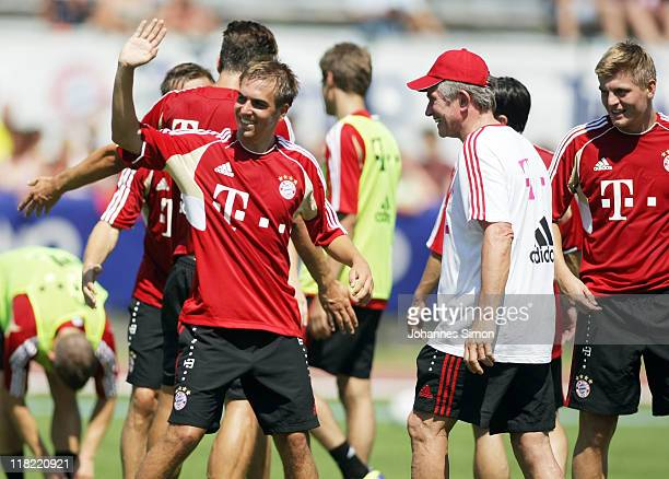 Philipp Lahm Jupp Heynckes head coach of German football club FC Bayern Muenchen and other players attend the morning training session at Arco...