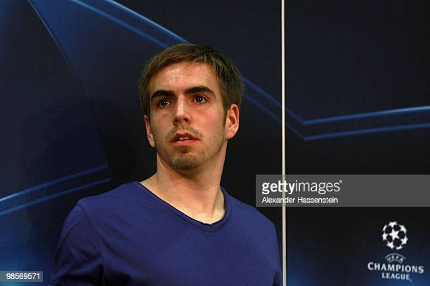Philipp Lahm looks on after a press conference on April 20 2010 in Munich Germany Bayern Muenchen will play against Olympic Lyon at the UEFA...