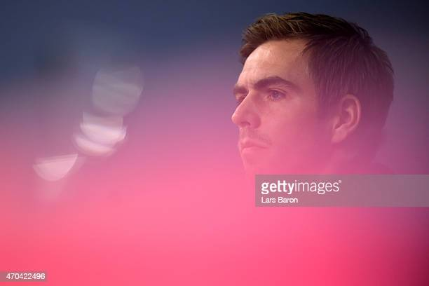 Philipp Lahm looks on during a press conference prior to their UEFA Champions League Quarter Final second leg match at Allianz Arena on April 20 2015...