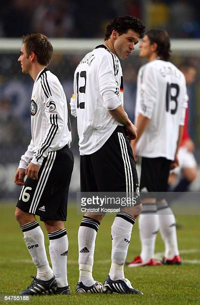 Philipp Lahm Michael Ballack and Mario Gomez of Germany look dejected during the International Friendly match between Germany and Norway at the LTU...