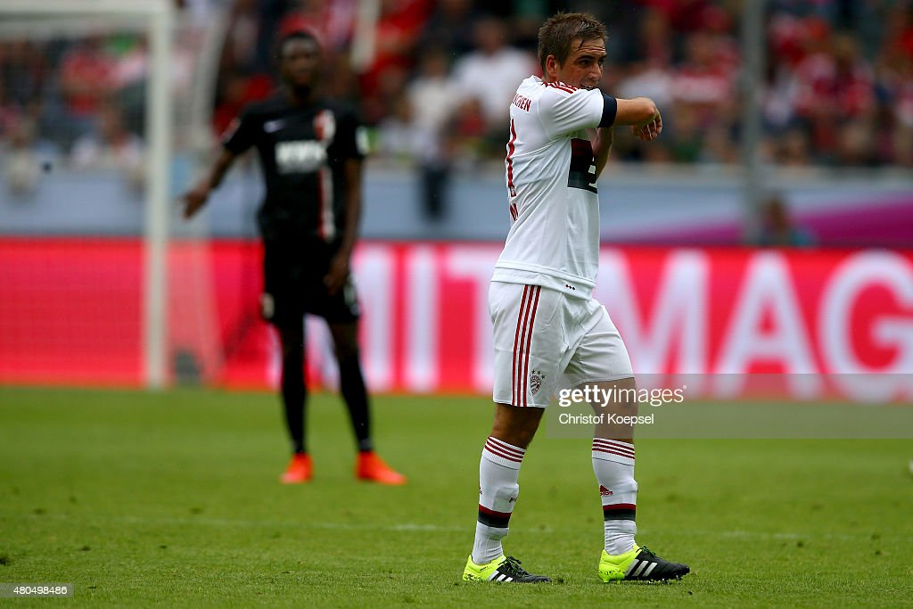 Philipp Lahm of Bayern looks dejected after the Telekom Cup 2015 Semi Final match between FC Bayern Muenchen and FC Augsburg at BorussiaPark on July...