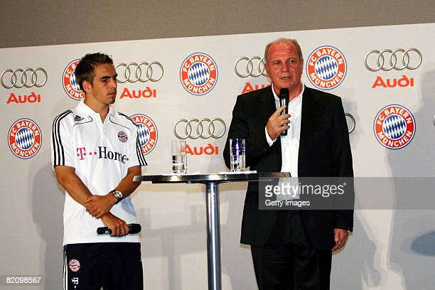 Philipp Lahm of Bayern Muenchen and Uli Hoeness manger of Bayern Muenchen speak during a press conference at Audi car factory on July 29 2008 in...