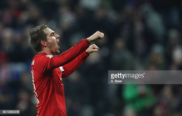 Philipp Lahm of Bayern Muenchen celebrates his goal during the Bundesliga match between FC Bayern Muenchen and FC Ingolstadt at Allianz Arena on...