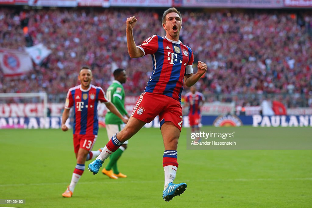<a gi-track='captionPersonalityLinkClicked' href=/galleries/search?phrase=Philipp+Lahm&family=editorial&specificpeople=483746 ng-click='$event.stopPropagation()'>Philipp Lahm</a> of Bayern Muenchen celebrates scoring the opening goal during the Bundesliga match between FC Bayern Muenchen and SV Werder Bremen at Allianz Arena on October 18, 2014 in Munich, Germany.