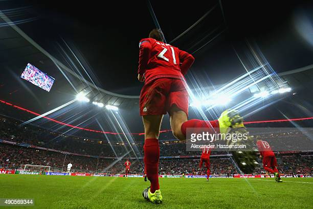 Philipp Lahm of Bayern Muenchen enters the field with his team mates for the UEFA Champions League Group F match between FC Bayern Munchen and GNK...