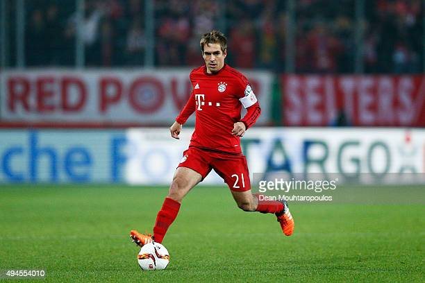 Philipp Lahm of Bayern Muenchen in action during the DFB Cup match between VfL Wolfsburg and FC Bayern Muenchen at Volkswagen Arena on October 27...
