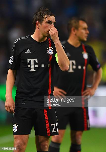 Philipp Lahm of Bayern Muenchen looks dejected during the UEFA Champions League Quarter Final first leg match between FC Porto and FC Bayern Muenchen...