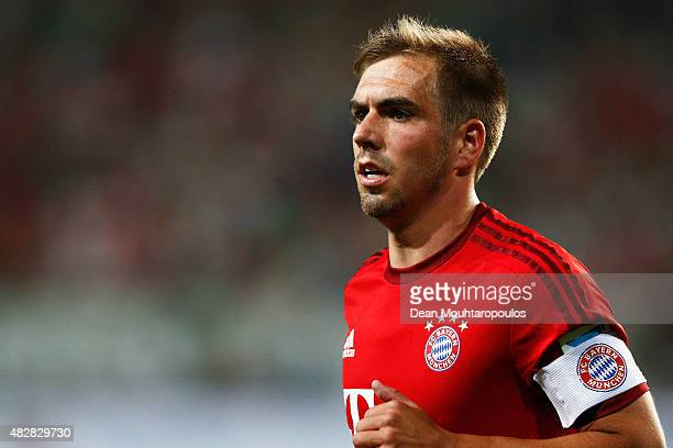 Philipp Lahm of Bayern Muenchen looks on during the DFL Supercup match between VfL Wolfsburg and FC Bayern Muenchen at Volkswagen Arena on August 1...