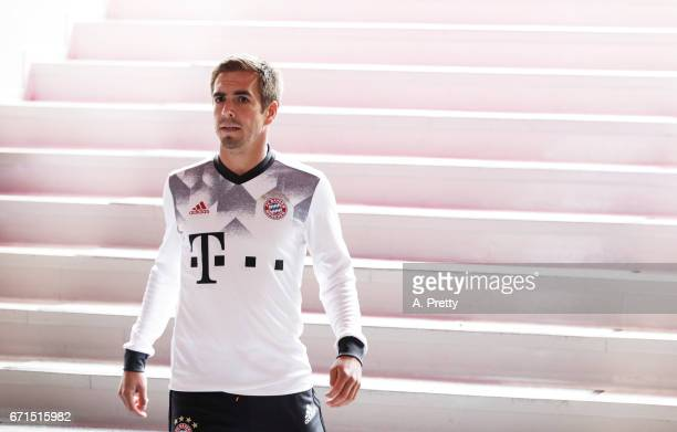 Philipp Lahm of Bayern Munich after the warm up before the Bundesliga match between Bayern Muenchen and 1 FSV Mainz 05 at Allianz Arena on April 22...