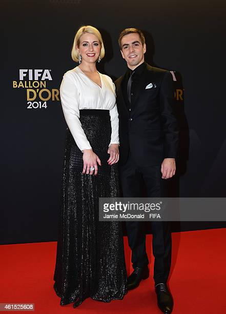 Philipp Lahm of Bayern Munich and Germany and Claudia Lahm arrive at the FIFA Ballon d'Or Gala 2014 at the Kongresshaus on January 12 2015 in Zurich...