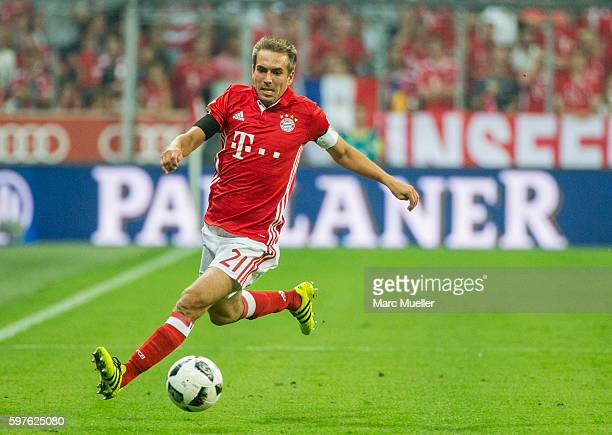 Philipp Lahm of Bayern Munich with ball during the Bundesliga match between Bayern Muenchen and Werder Bremen at Allianz Arena on August 26 2016 in...