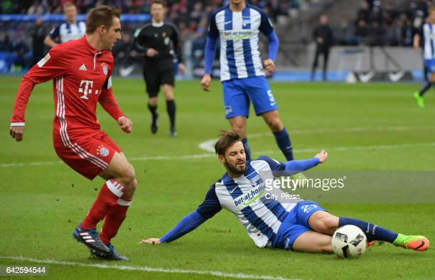 Philipp Lahm of FC Bayern Muenchen and Marvin Plattenhardt of Hertha BSC during the game between Hertha BSC and dem FC Bayern Muenchen on February 18...