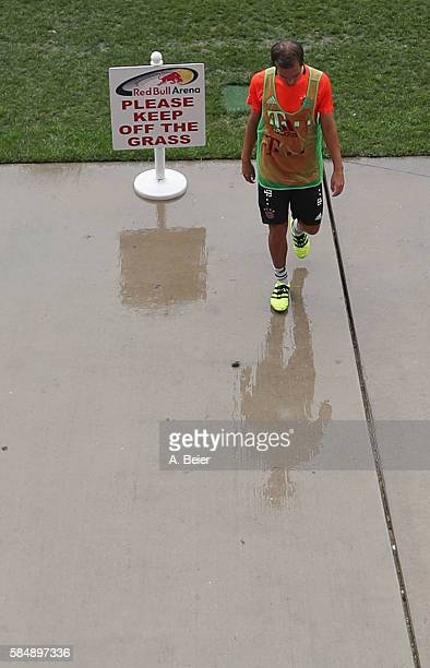 Philipp Lahm of FC Bayern Muenchen leaves the pitch after a training session at the AUDI Summer Tour USA 2016 at Red Bull Arena football stadium on...