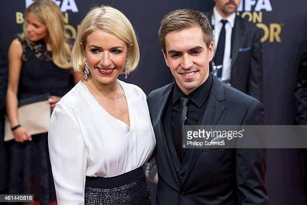 Philipp Lahm of Germany and Bayern Munich and his wife Claudia Lahm arrive prior to the FIFA Ballon d'Or Gala 2014 at the Kongresshaus on January 12...