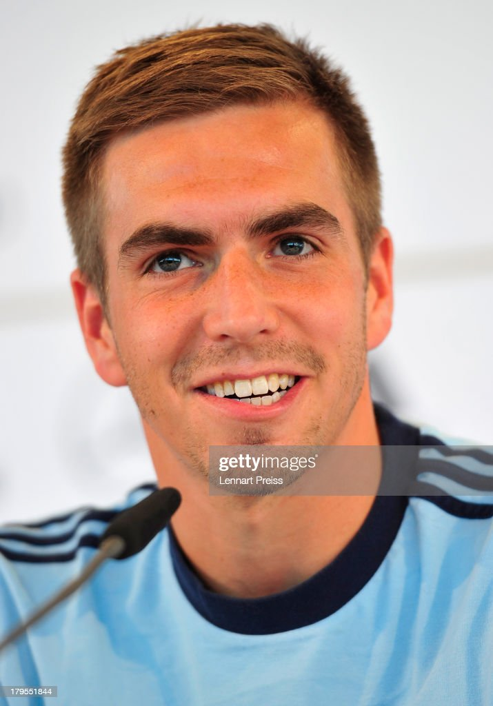 Philipp Lahm of Germany attends a press conference ahead of their FIFA World Cup qualifier against Austria, at the Mercedes Benz Center on September 5, 2013 in Munich, Germany.