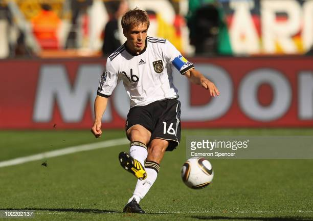 Philipp Lahm of Germany in action during the 2010 FIFA World Cup South Africa Group D match between Germany and Serbia at Nelson Mandela Bay Stadium...