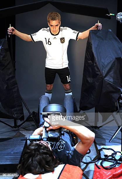 Philipp Lahm of Germany poses during a record of a Mercedes Benz television advert for the FIFA Wolrd Cup 2010 at the Mercedes Benz Arena on January...