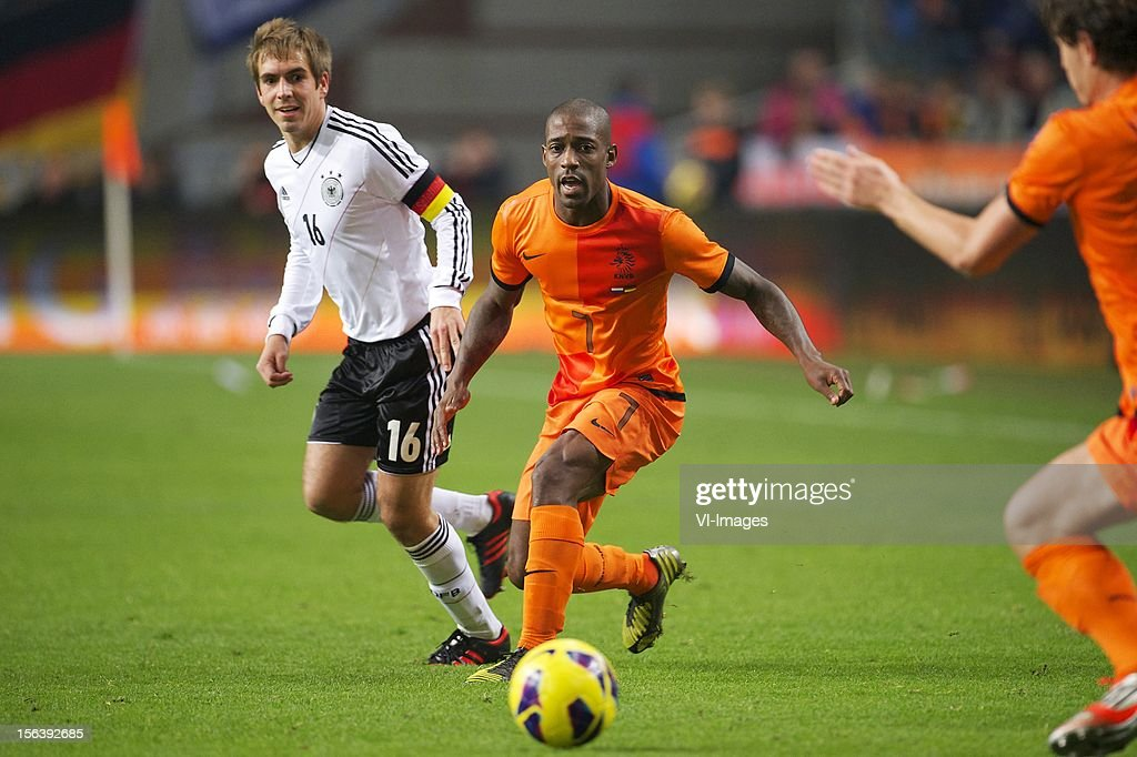 Philipp Lahm of Germany, Ruben Schaken of Holland during the Friendly match between Holland and Germany at the Amsterdam Arena on November 14, 2012 in Amsterdam, The Netherlands.
