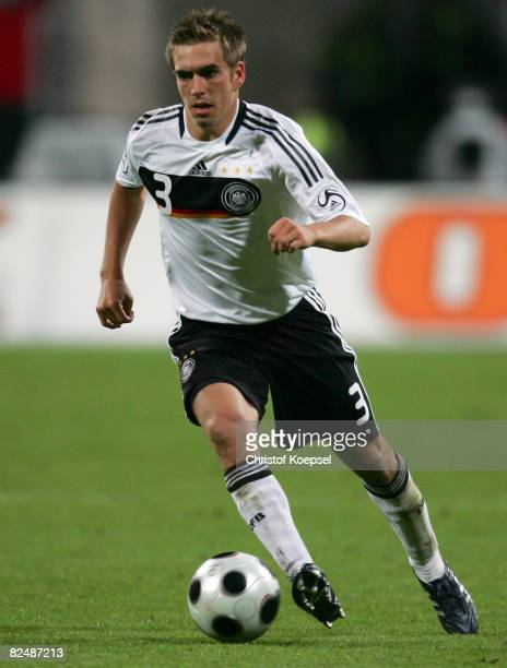 Philipp Lahm of Germany runs with the ball during an international friendly match against Belgium at the easyCredit stadium on August 20 2008 in...