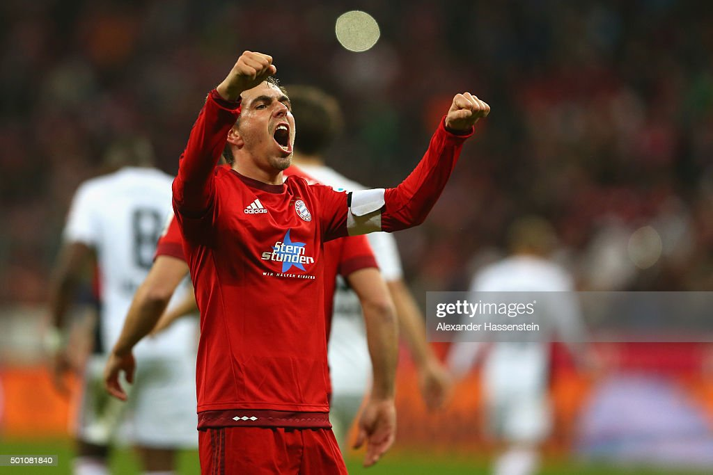 Philipp Lahm of Muenchen celebrates scoring the 2nd team goal during the Bundesliga match between FC Bayern Muenchen and FC Ingolstadt at Allianz Arena on December 12, 2015 in Munich, Germany.
